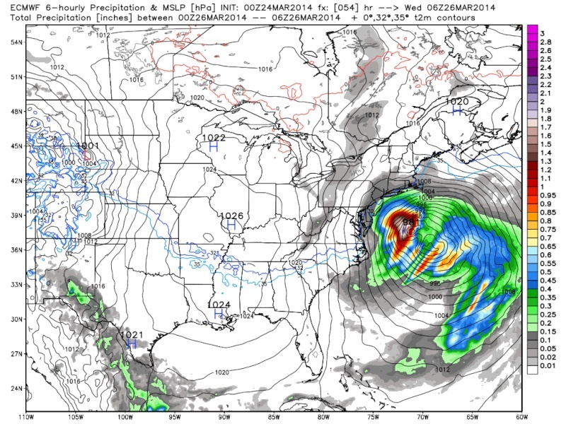March 25th Glancing Blow Storm, 1st Call Snow Map - Page 2 Euro_s17