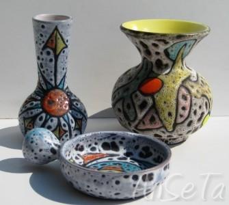 Vase émail craquelé décor bleu oiseaux et fleurs de lys - Masipal  Espagne - Page 2 Besson13