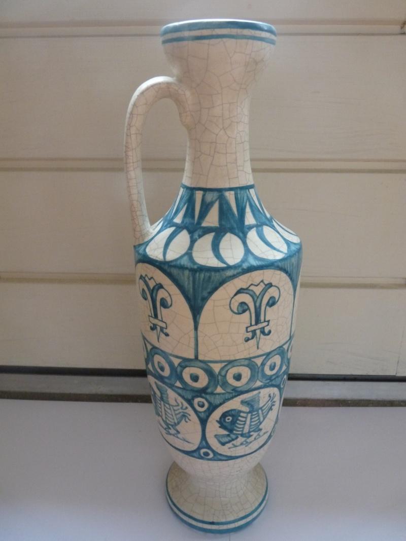 Vase émail craquelé décor bleu oiseaux et fleurs de lys - Masipal  Espagne - Page 2 P1100513