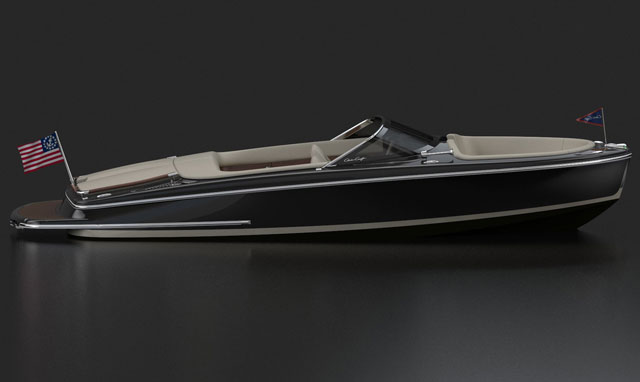 Finish on a maghogany Chris-Craft EP speed boat Chris-10