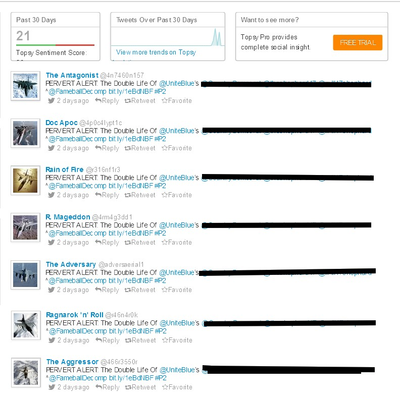 The 24 faces of Stalker RJ Sterling. 24 Twitter Accounts to harass the Left and Right 2013-010