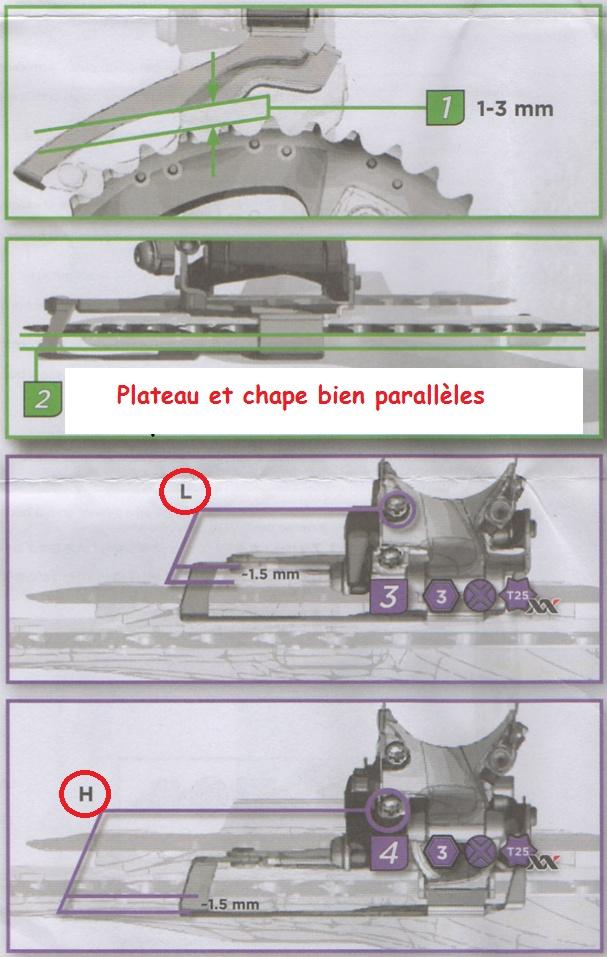 Dérailleur avant: Réglages hauteur et butées Haute (H) et Basse (L) Darail11