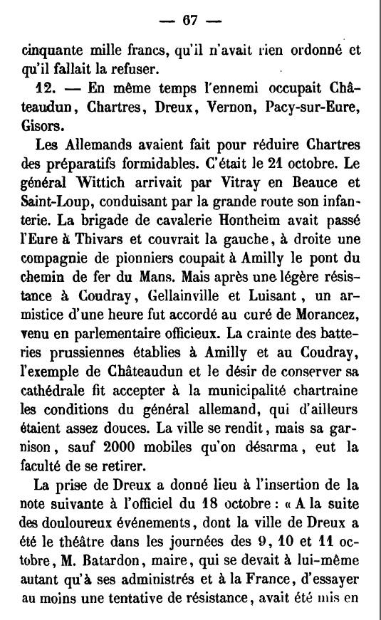MORANCEZ -- LE COUDRAY -- Le Château de GOURDEZ -- La guerre de 1870 .... CHARTRES -- LUISANT --  Campag11