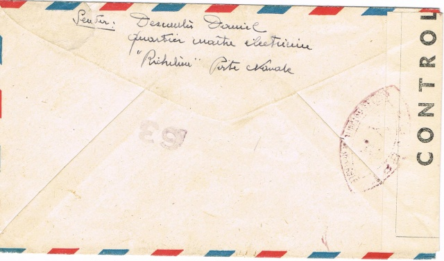ENVELOPPE POSTE NAVALE RF à CASABLANCA 1944 Ccf06015