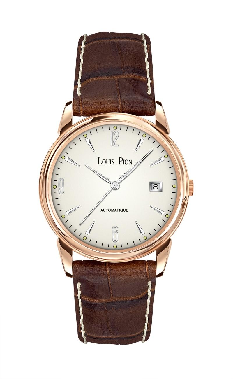 montre louis pion look vintage fond clair couleur or rose cuir marron Lp12