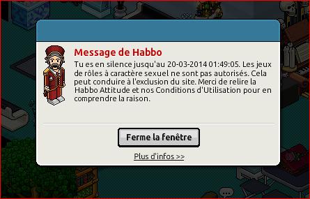 Mute d'Habbo jusqu'au 20 mars 2014 (1:00 AM) de groschefjohn Mute110