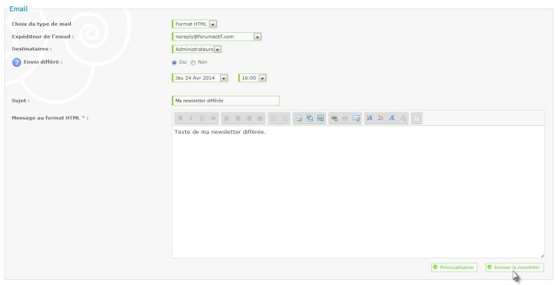 Nouvelle fonctionnalité : Programmez votre newsletter Tut_2210