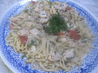 Spaghettis au poulet + photos. 10390410