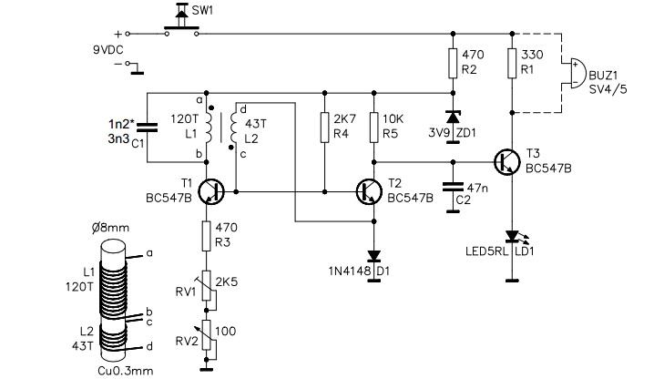 Détecteur de metaux VELLEMAN K7102 Schama10