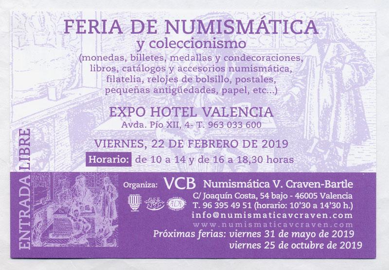 Feria de numismática y coleccionismo en Valencia, en el Expo Hotel, viernes 22 de febrero de 2019 Bb10
