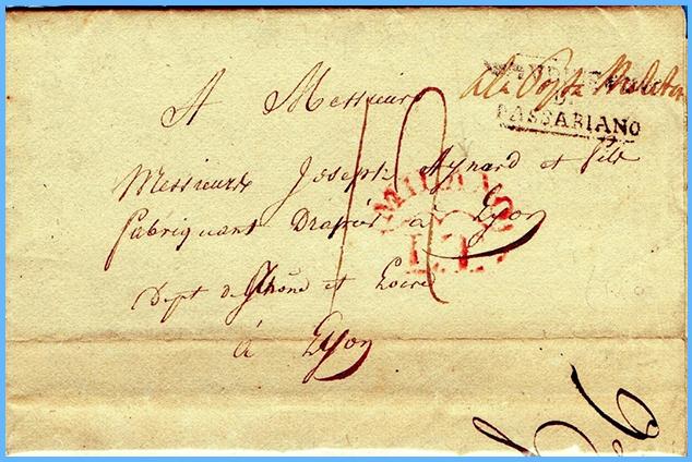 lettre de 1814 - Verceil italie Captu189