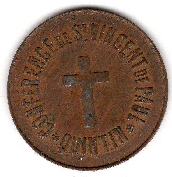 jeton  kgs de Pain en cuivre émis par Conférence de St-Vincent de Paul QUINTIN Quinti10