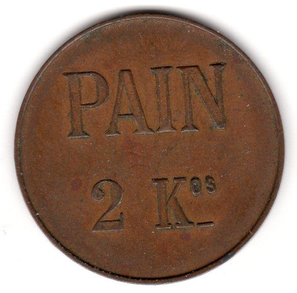 jeton  kgs de Pain en cuivre émis par Conférence de St-Vincent de Paul QUINTIN Quinti11