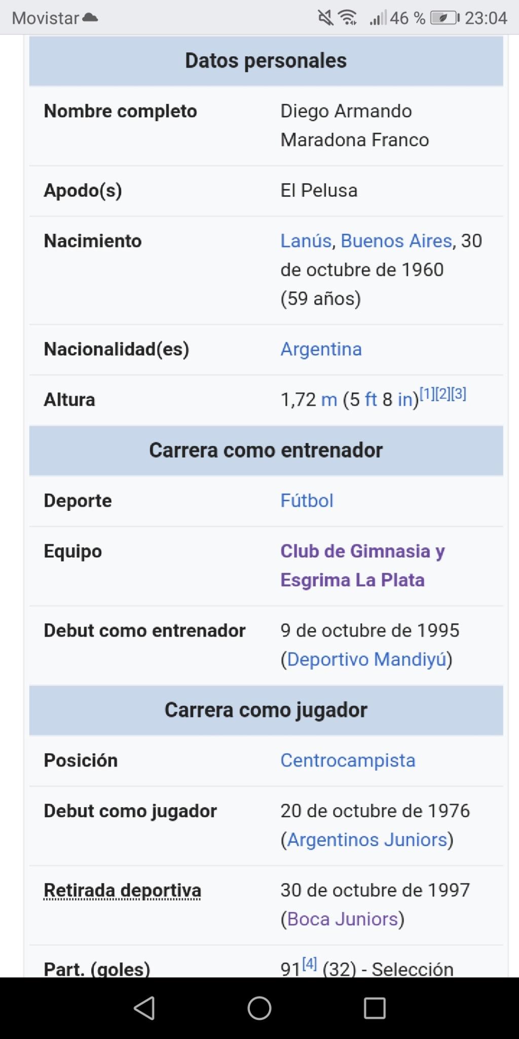 ¿Cuánto mide Diego Armando Maradona? - Altura - Real height Screen48