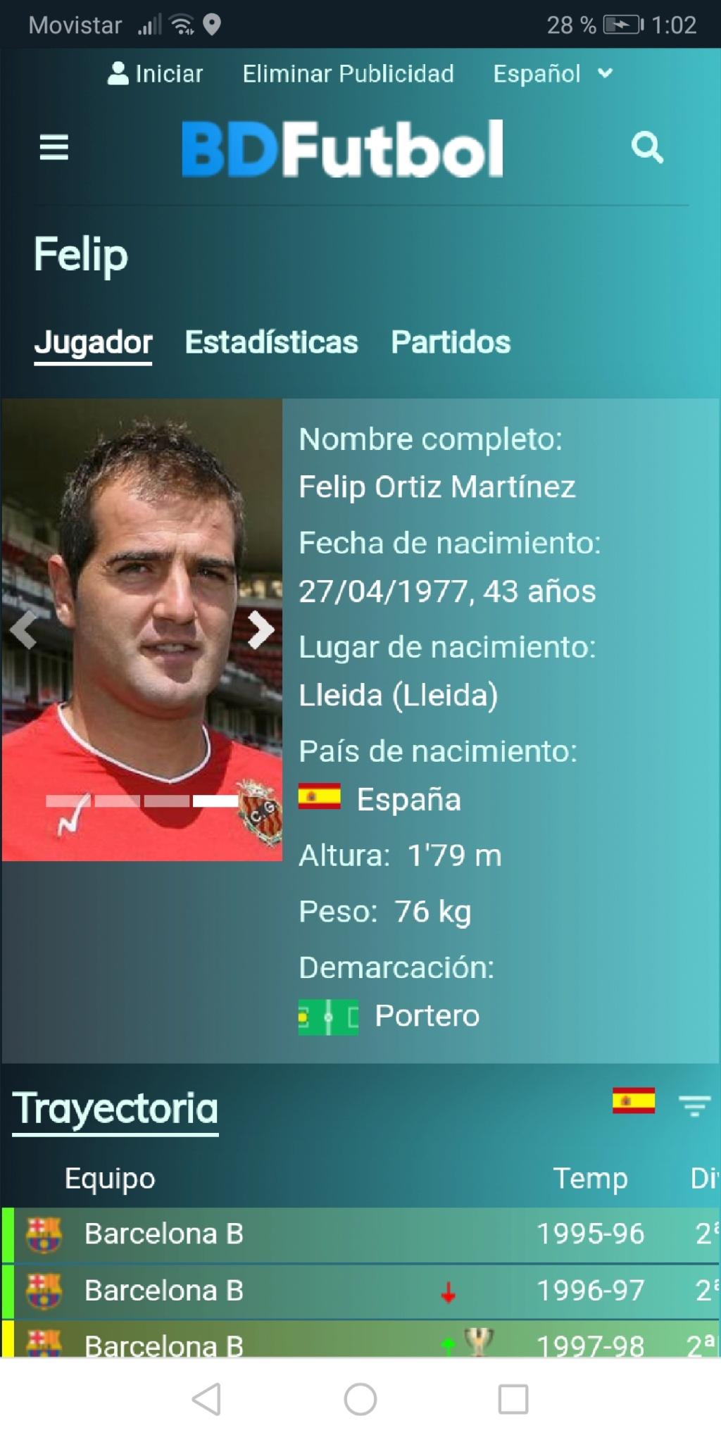 Los porteros más bajos que jugaron en la Liga española (menos de 1,78 metros) Screen95
