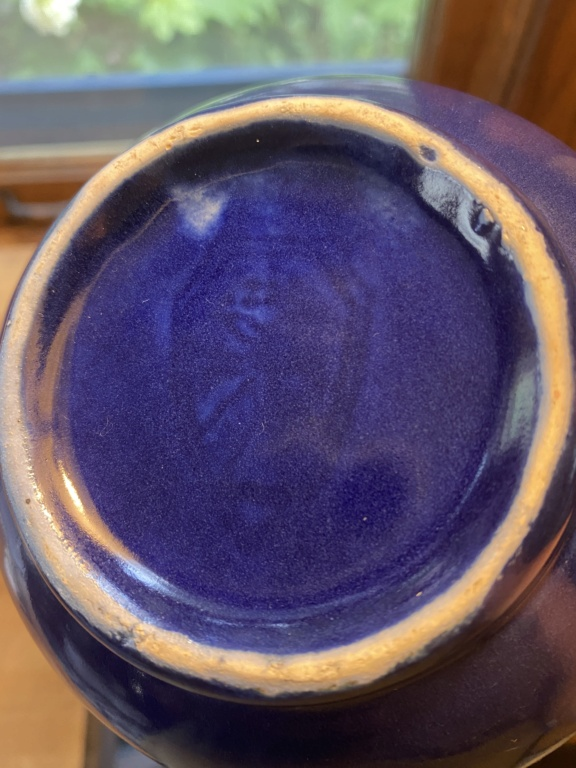 Cobalt Blue Pitcher Vase with Unusual Shield Like Mark Bluebo10