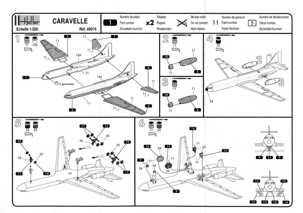 SUD AVIATION SE 210 CARAVELLE 1/200ème Réf 49074 Notice Notice10