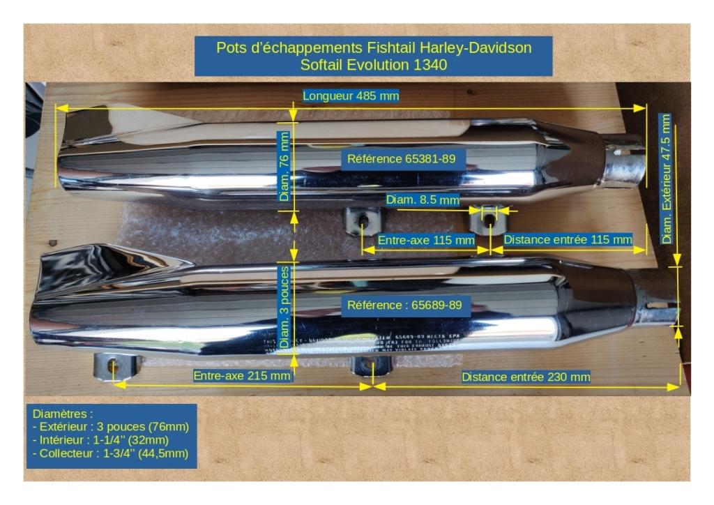 Pots d'échappements Harley-Davidson Softail 1340 Fishtail Mesure10