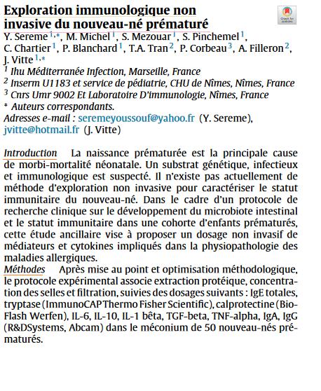 Exploration immunologique noninvasive du nouveau-né prématuré 112