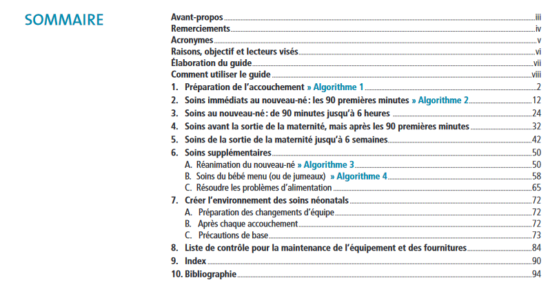 Guide de poche de pratique clinique 1ers soins essentiels du nouveau né Somm10