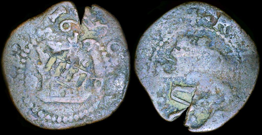 Ochavo de Felipe II, La Coruña – Resellado por Felipe III y IV 2m_lc-10