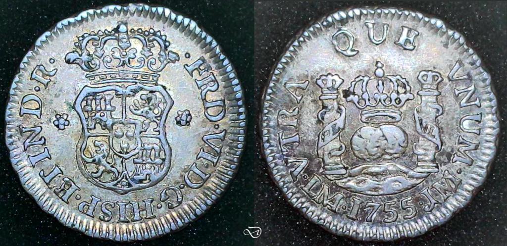 ½ real columnario, 1755, Lima… variante en ensayador(JM/JD) Signed10
