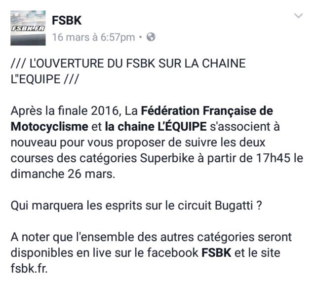 Le FSBK sur L'Equipe tv Screen23