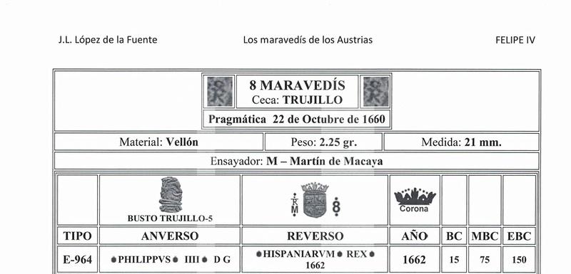 8 Maravedís 1.662 Trujillo, Felipe IV 22210