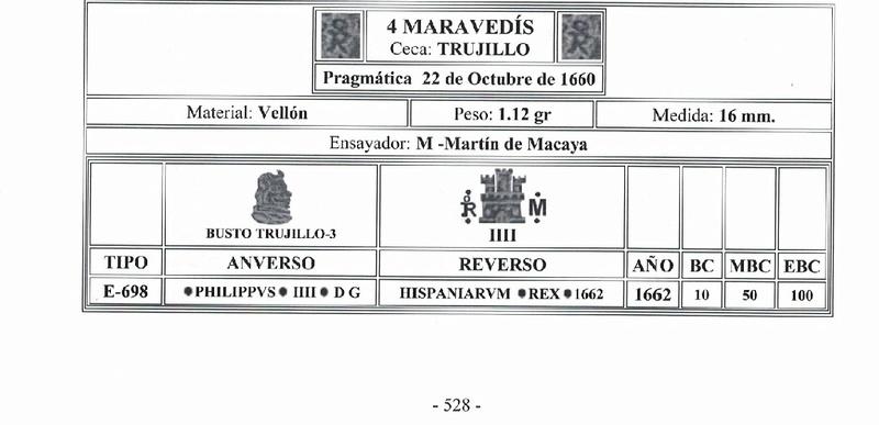 4 maravedís de Felipe IV ceca  de trujillo 3310
