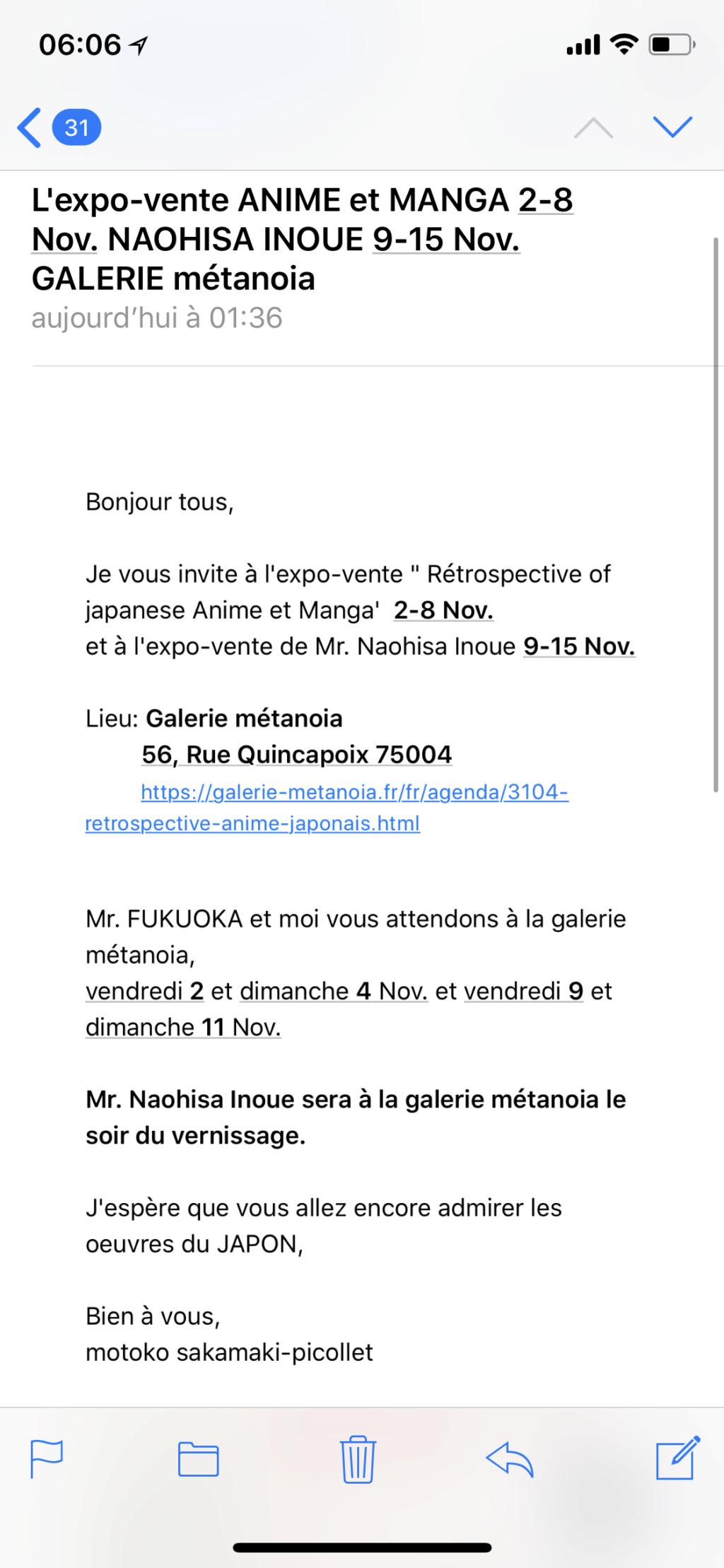 Expo vente Anime et manga 2-8 nov. Naohisa Inoue 9-15 nov galerie métanoia Img_2310