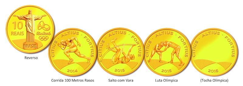 Les monnaies commémoratives des Jeux Olympiques et Paralympiques Rio 2016 Ouro10