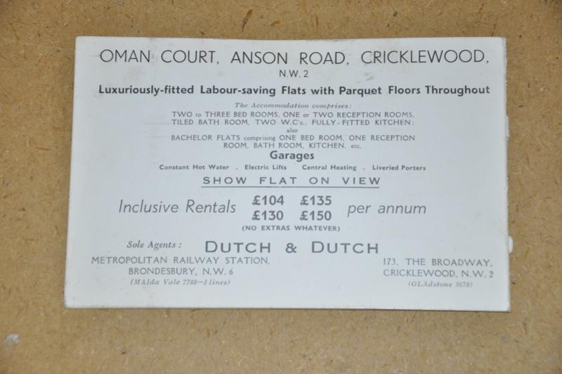 CP Publicitaire. Oman Court Oman Avenue Cricklewood Dsc_0026