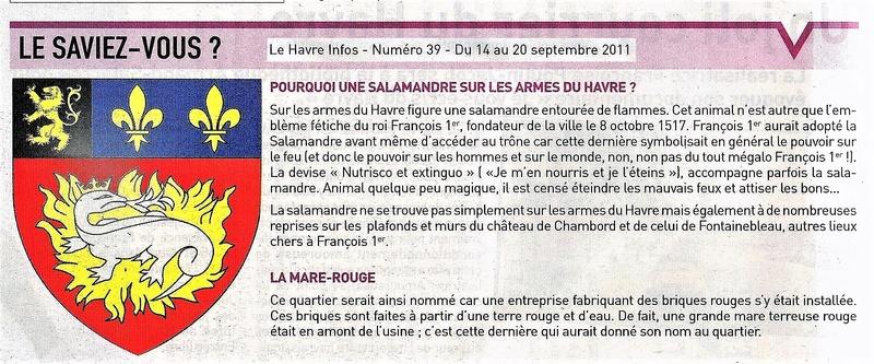 Salamandre sur blason du Havre - Mare Rouge 2011-011