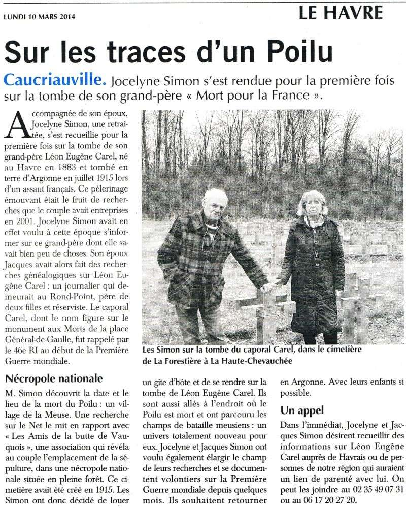 Jocelyne SIMON cherche la famille du poilu Léon CAREL 2014-035