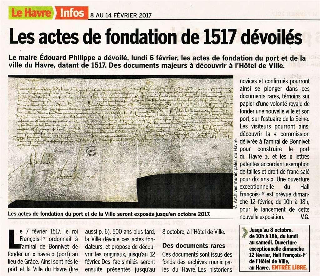 Havre - Acte de fondation du Havre 2017-010
