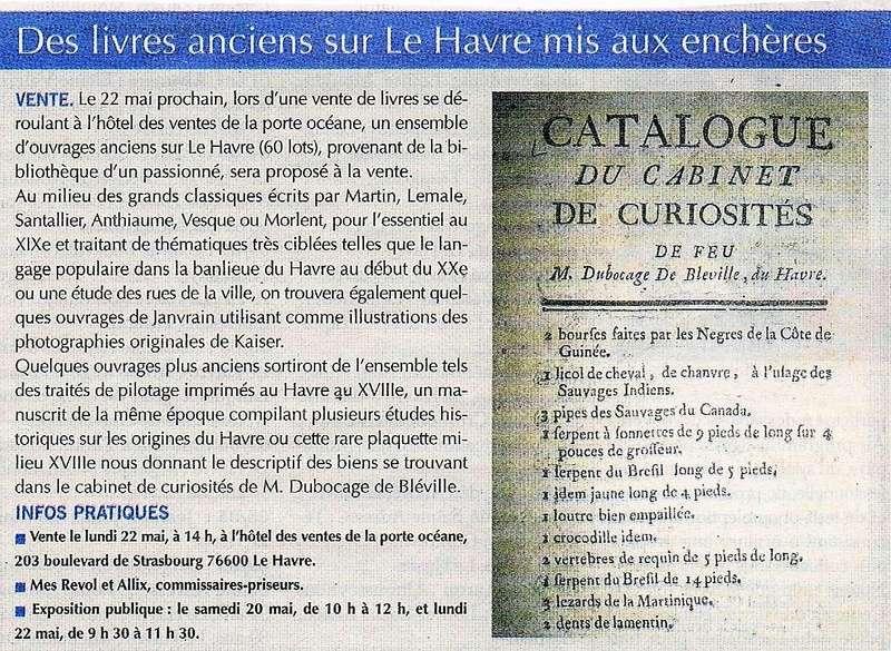 Livres anciens sur Le Havre mis aux enchères 2017-049