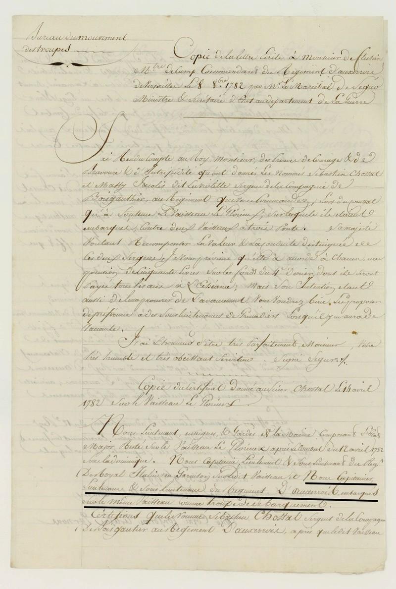 Régiment  du Languedoc et d'Auxerrois 1778 1783 Dossie11