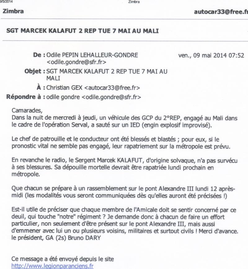 légionnaire tué au Mali  du 2 REP  CALVI 09-05-10
