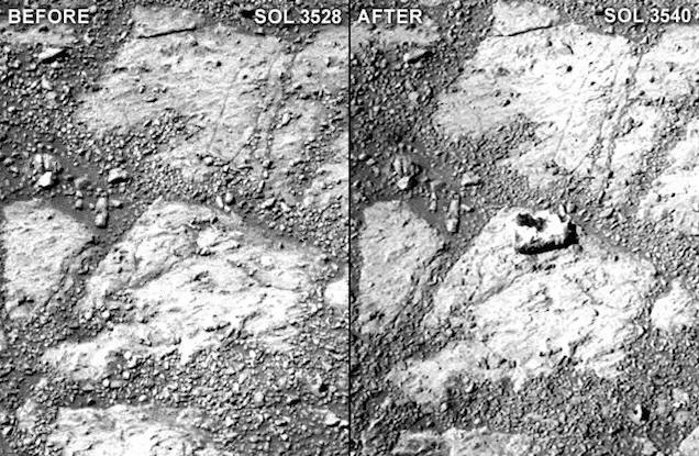 une roche apparaît sur Mars devant le Rover Opportunity Sans_t10