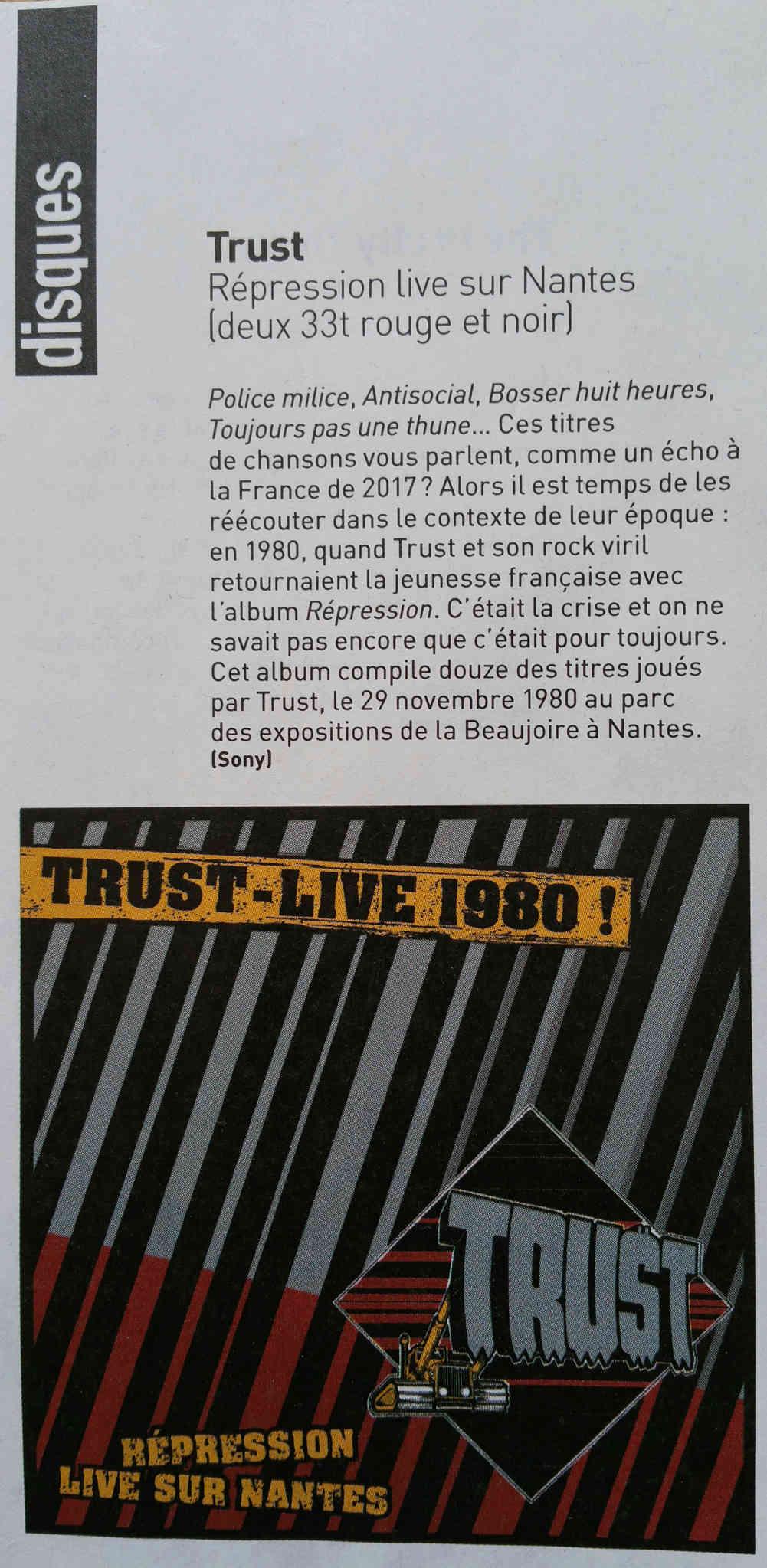 L'album Live de TRUST du DISQUAIRE DAY 2017 ... 20140221