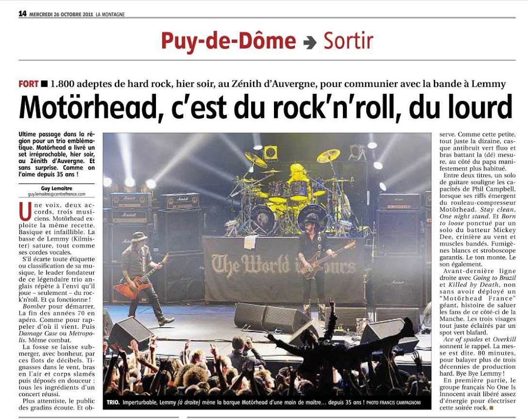 Article de journal (LA MONTAGNE) sur MOTÖRHEAD de son passage à Clermont Ferrand le 25 octobre 2011 ...  Articl10