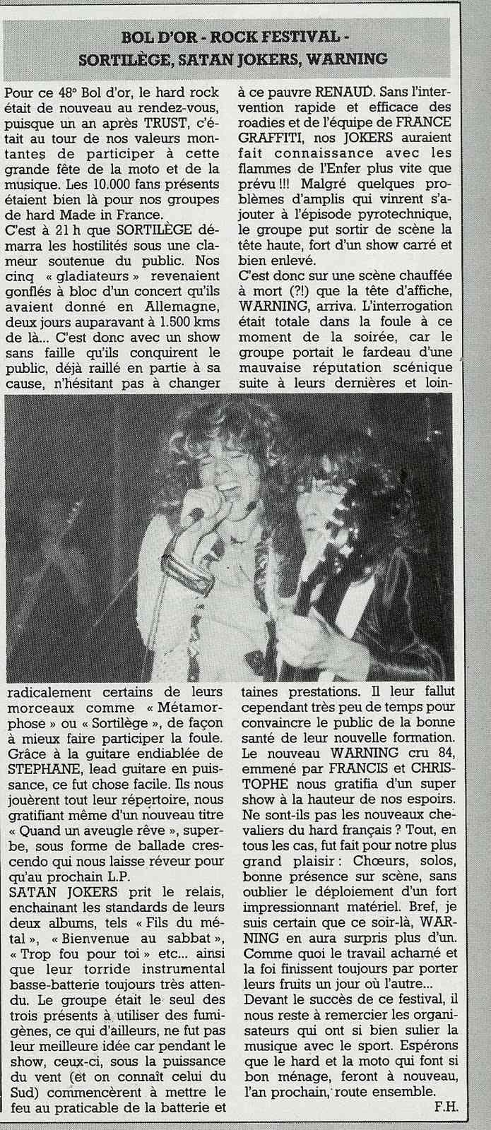 """Le Bol d'or 1984 avec WARNING, SORTILEGE, SATAN JOKERS ... article dans """"Metal Attack"""" Octobre 1984. (Archive) Bol_d_10"""