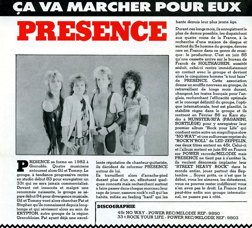PRESENCE Rock Your Life (1986-2015) Glam Rock Enf39010
