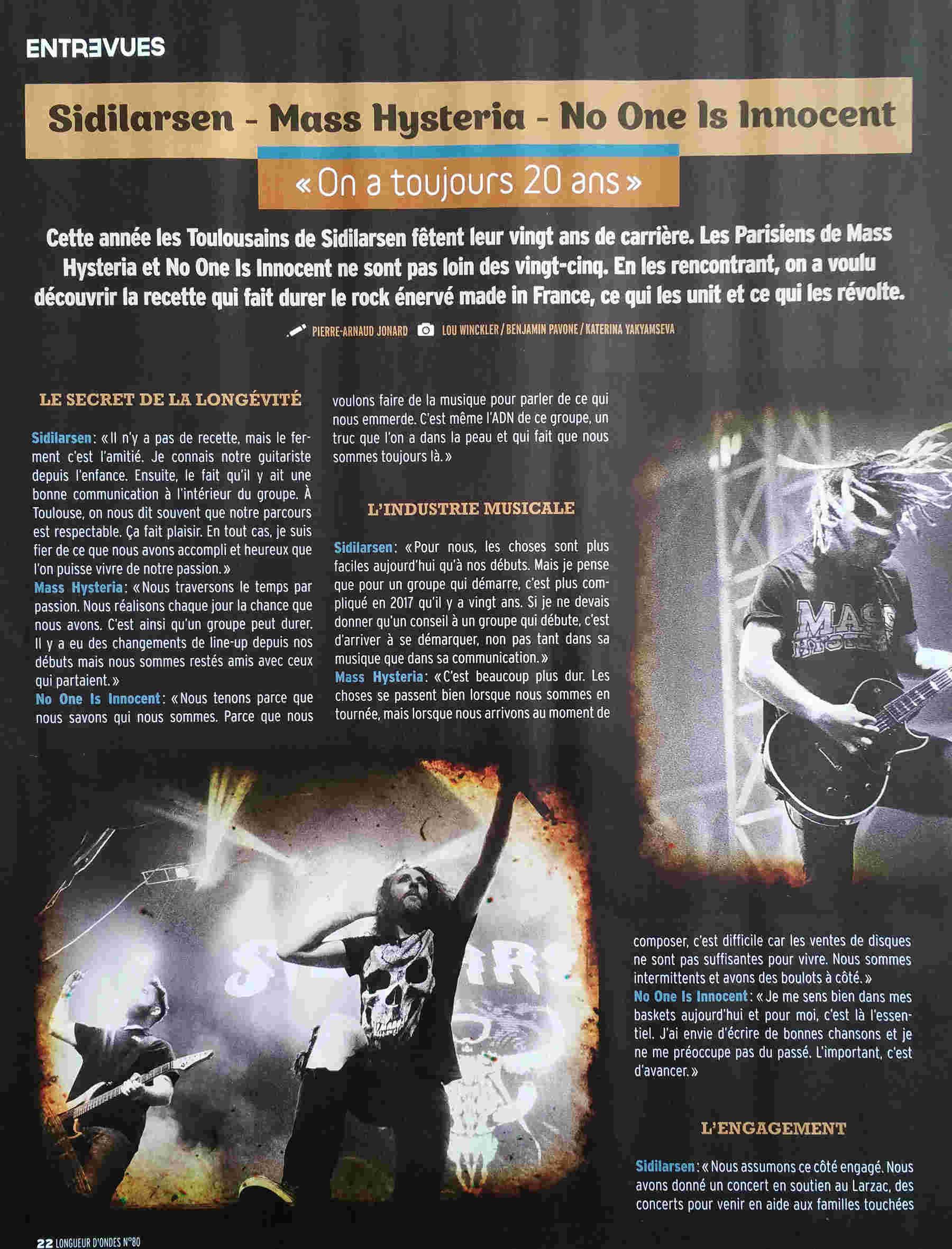 LONGUEUR D'ONDES : interview Mass Hysteria, Sildilarsen ... Interv11