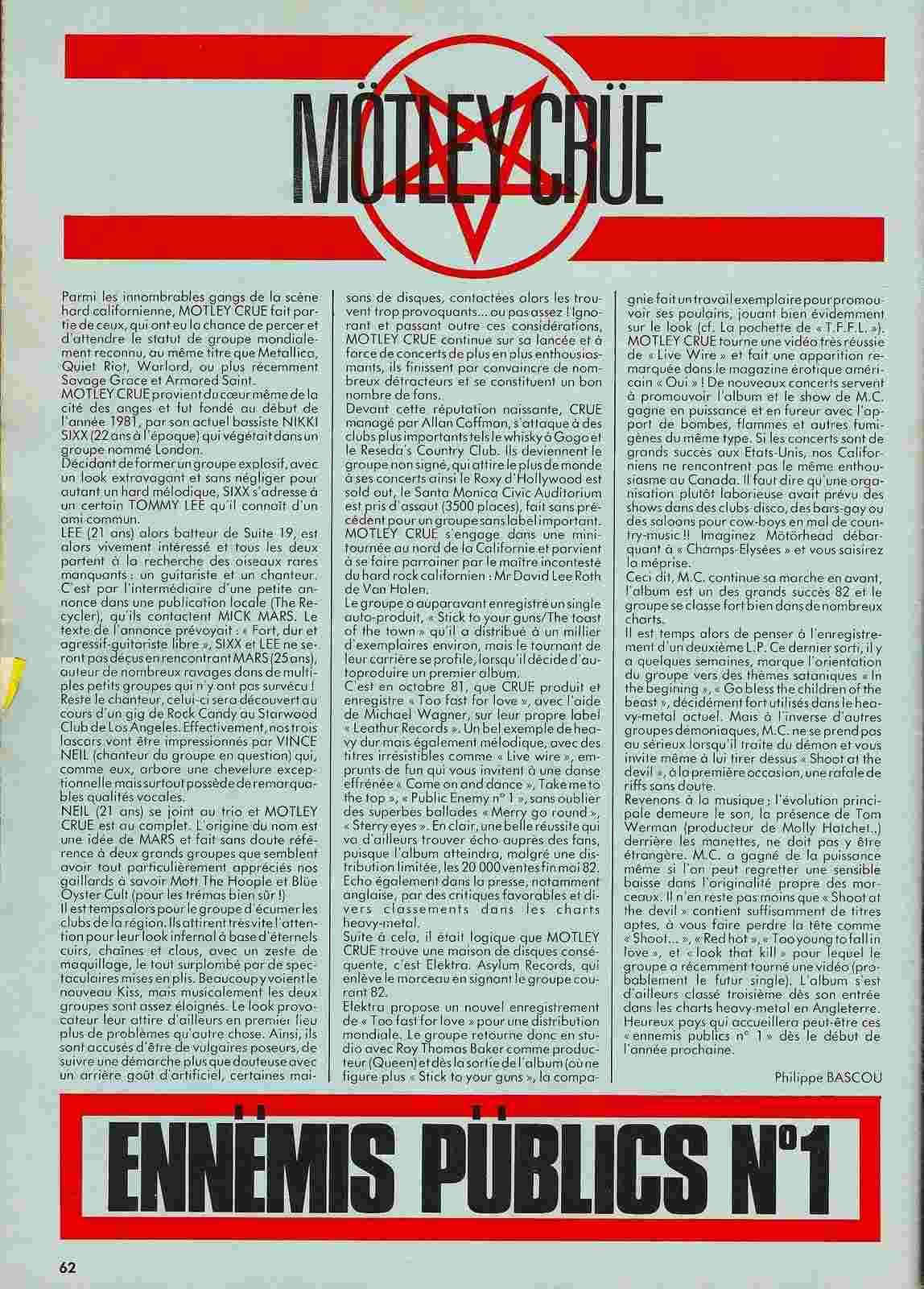 """MÖTLEY CRÜE article """"Enfer Magazine"""" Décembre 1983. Numyri10"""