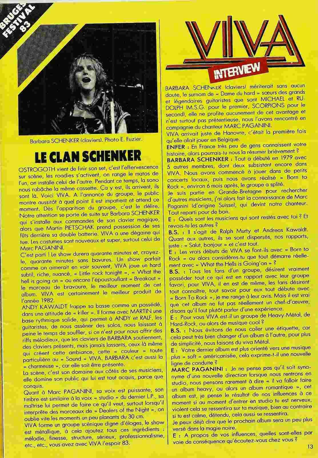 "VIVA interview dans ""Enfer Magazine"" Juin 1983. Numyri12"