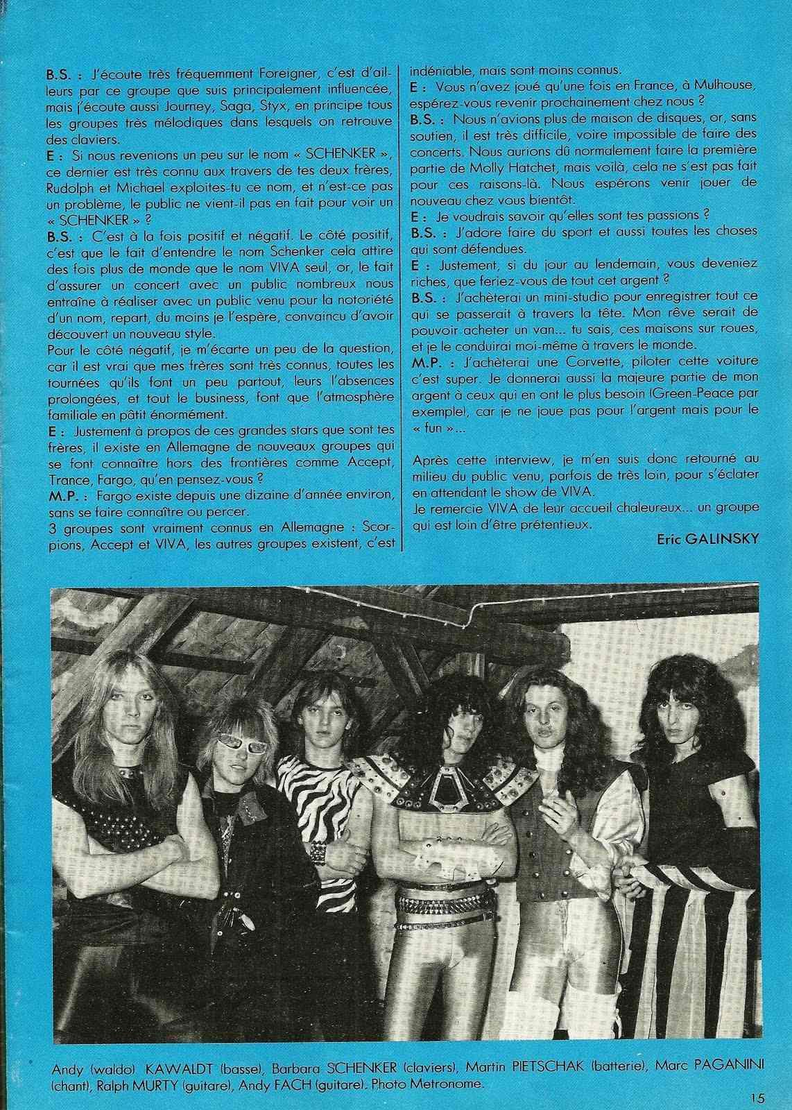 "VIVA interview dans ""Enfer Magazine"" Juin 1983. Numyri14"