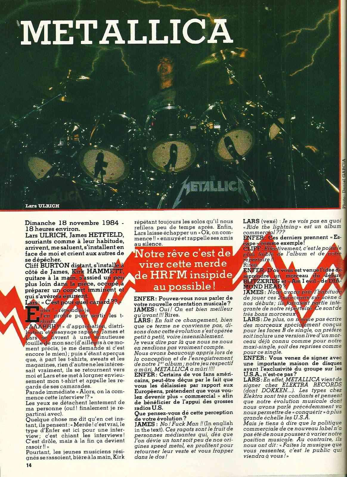 """METALLICA Interview """"Enfer Magazine"""" Janvier 1985 ... Numyri22"""