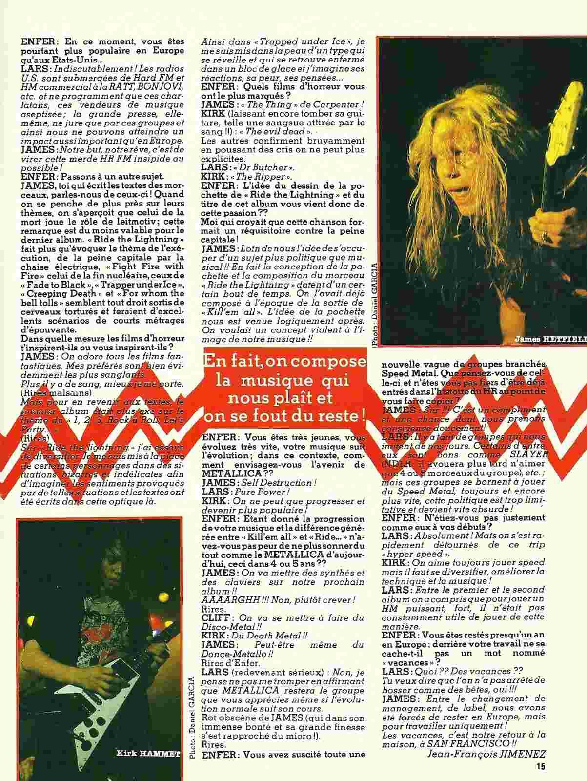 """METALLICA Interview """"Enfer Magazine"""" Janvier 1985 ... Numyri23"""