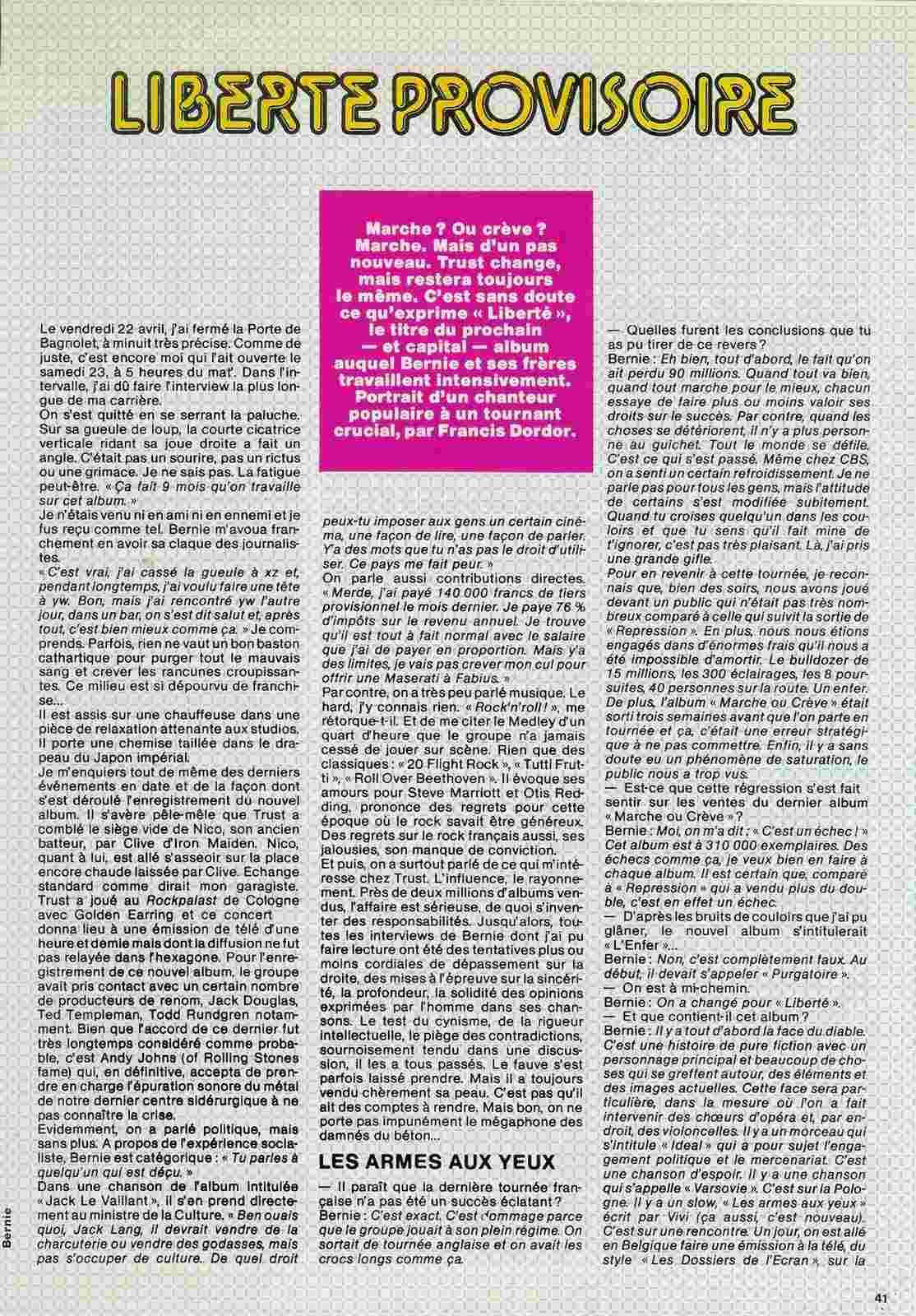 Interview de BERNIE BONVOISIN dans le BEST de mai 1983. (Archive) Scan0024